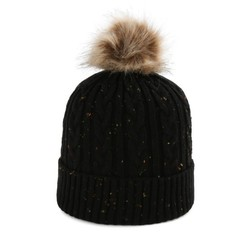 Beanie Cable Knit Black